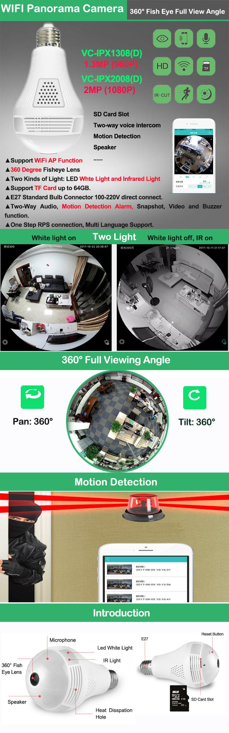 Bulb Wifi Home Security Camera